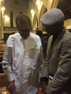 Adeyinka Akinwande with Olorogun Oscar Ibru, at the burial of his father, chief Michael ibru at St John's Church, Nottinghill, london